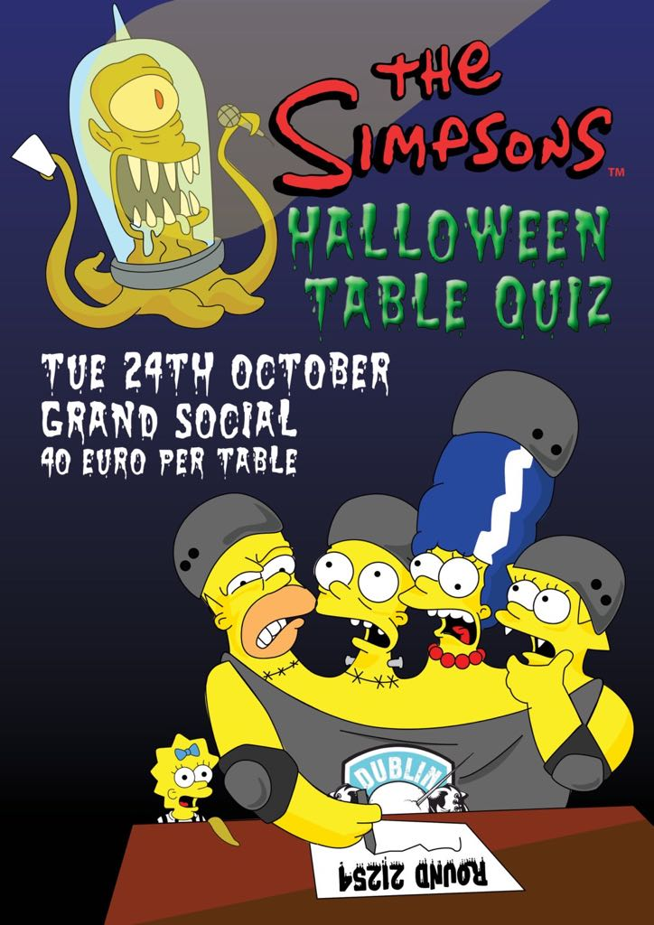 The simpsons halloween specials table quiz 24th october for Table quiz dublin